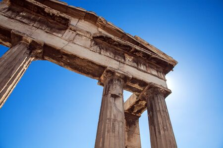 Antique greek temple column detail Stock Photo
