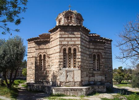 View of th Byzantine Orthodox Church of the Holy Apostles in Ancient Agora - Athens - Greece