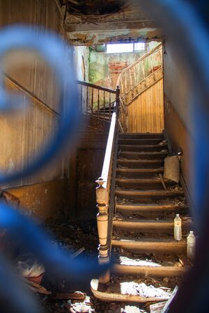 Staircase in abandoned city building Stock Photo