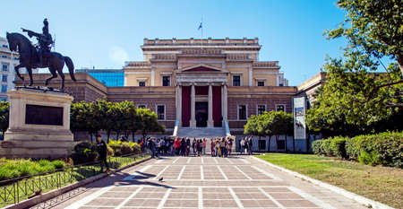 Athens, Greece: April 17. 2018: Bronze statue of Theodoros Kolokotronis by Lazaros Sochos, in front of the old Parliament House (now - National Historical Museum) in Athens, Greece