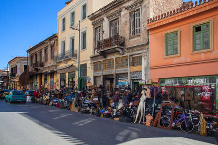 Athens Greece: April 17. 2018: Colorful shops at Ermou street in Athens selling all kinds of vintage items