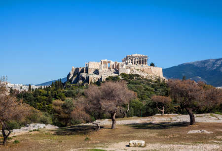 Acropolis hill in Athens city panorama
