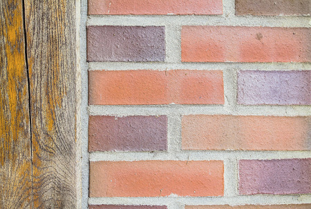 half wooden half bricks Stock Photo