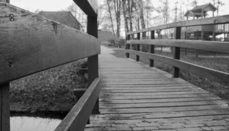 wooden bridge in black and white Stock Photo