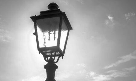 street lantern in black and white
