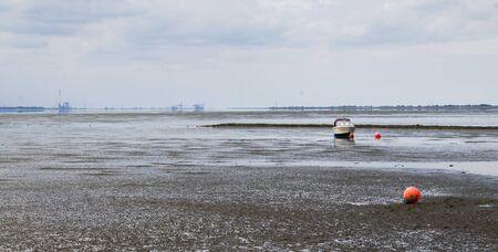 Mud Flat landscape of the Sea Stock Photo