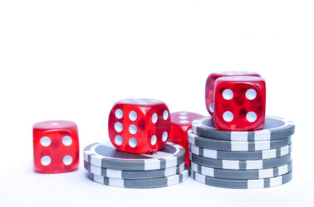 Poker dices and chips isolated
