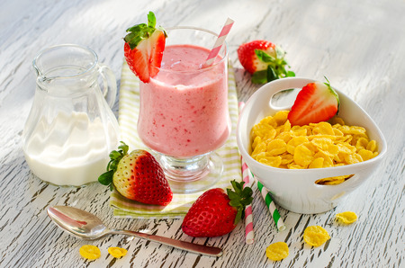 Fresh healthy breakfast with fruits and milk shake horizontal