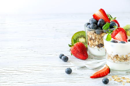 Granola with berries and fruits
