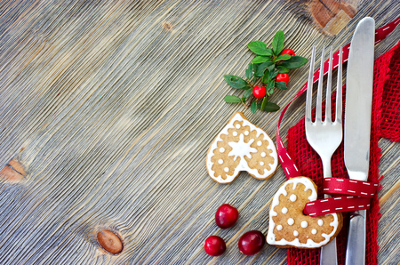 Christmas dinner decoration with gingerbread cookies sample text