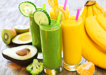 Healthy raw fresh drink with ingredients