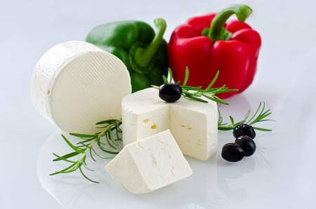 paneer: Paneer cheese on white background, horizontal, selective focus