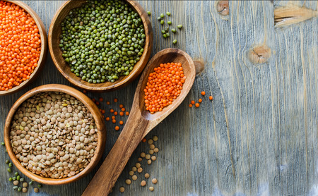 moong: Lentils and moong beans for healthy cooking copy space background