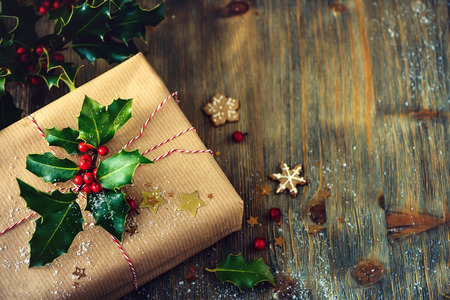 christmas present box: Christmas festive present box vintage decorative background with homemade cookies