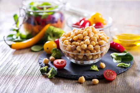 healthy snack: Healthy chickpea and veggies for homemade salad, diet, vegetarian, vegan food, vitamin snack