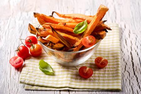 Healthy homemade sweet potato fries, vegan vegetarian snack