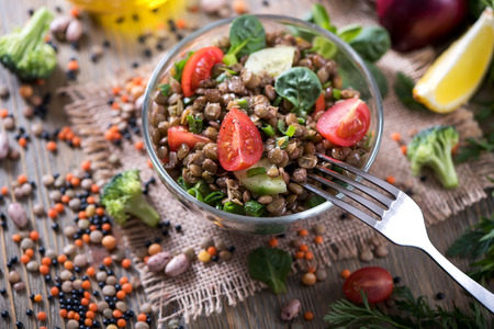 Lentil salad with veggies, healthy food, vegetarian and vegan snack, clean eating, diet, detox