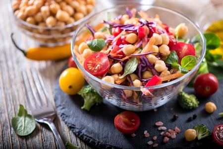 diet food: Healthy homemade chickpea and veggies salad, diet, vegetarian, vegan food, vitamin snack