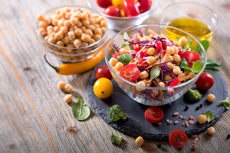 Vegan chickpea and veggies salad, diet, vegetarian, healthy food, vitamin snack Stock Photo