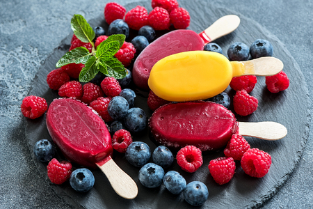 Popsicles ice cream with berries, summer dessert, sweet snack