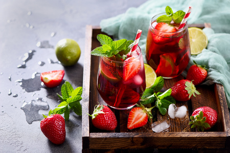 mohito: Strawberry lemonade drink with  lime and mint, refreshing summer drink