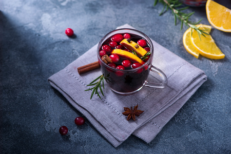 Mulled wine with cranberberries, winter drink