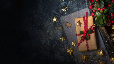 Christmas gift or present box with sparkling bokeh lights copy space background Stock Photo