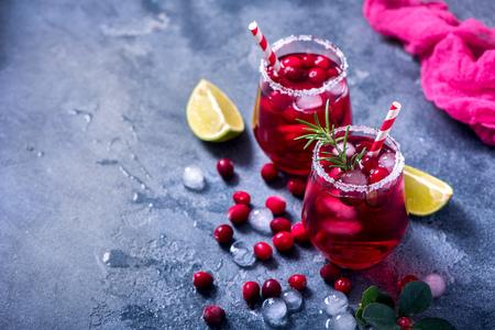 Cranberry cocktail, winter festive cold drink, punsh Stock Photo