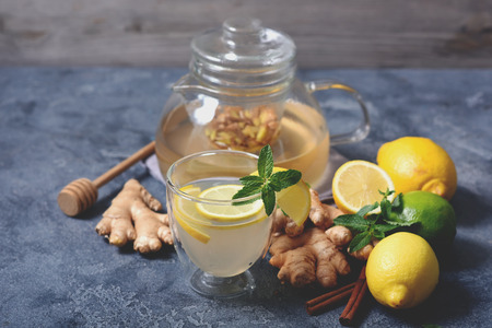 Herbal tea with ginger, mint and lemons, healthy vitamin drink