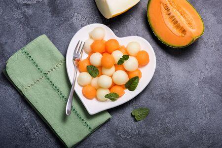 Melon summer salad with cantaloupe, fruit salad, summer snack