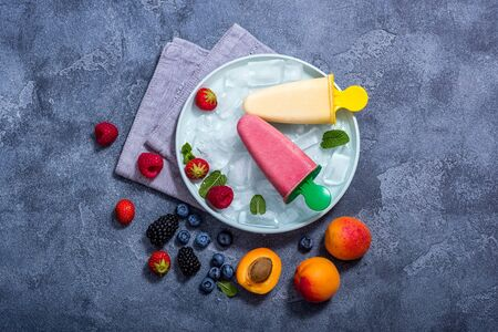 Fruit and berry ice cream with fruits and berries, summer dessert, natural sweets, homemade vegan Banco de Imagens