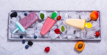 vegan ice cream with fruits and berries, summer food, homemade dessert