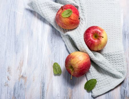 Fresh apples, top view copy space background, healthy eating concept Stockfoto
