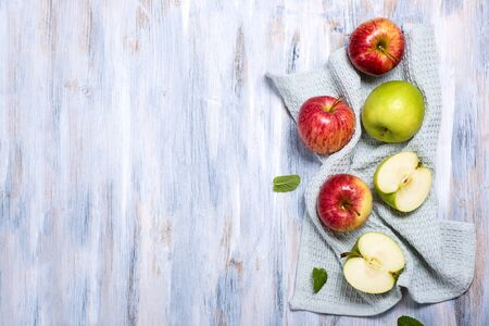 Fresh red and green apples, top view copy space background, healthy eating concept
