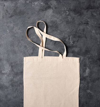 Empty reusable cotton bag top view, blank space for text, eco-friendly shopping, zero waste concept and lifestyle Stockfoto