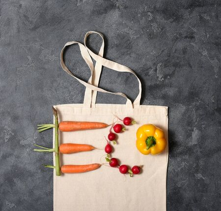 Word eco made of vegetables, bio and organic food concept, reusable cotton bag, space for text, eco-friendly shopping, zero waste concept and lifestyle Stockfoto