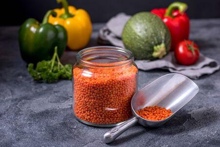 Red lentlis and vegetables for healthy vegan cooking, clean eating and healthy balanced diet ingredients Reklamní fotografie