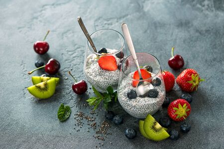 Chia seeds pudding with fruits and berries, healthy snack or breakfast