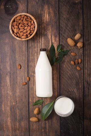 Almond milk in bottle, plant milk, healthy vegan drink Archivio Fotografico