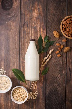 Plant vegan milk in bottle with ingredients