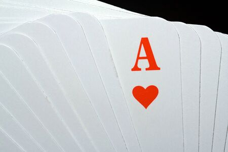 skat: Many playing cards with a heart-ass Stock Photo