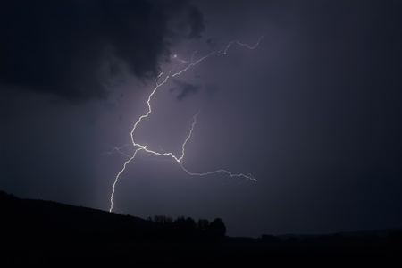 Lightning strike within a thunderstorm at night photo