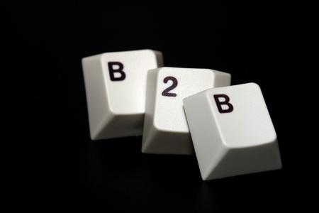 Einzeltasten, die das Wort B2B mit schwarzem Hintergrund anzeigen Standard-Bild - 10959334