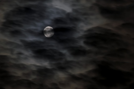 Shining full moon that shins through the clouds photo