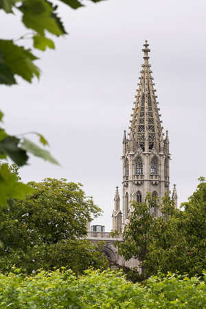 believes: Gothic church tower with trees in the foreground Stock Photo