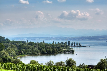 Panorama of Lake Constance with a blue sky