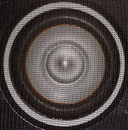 Closeup of a black and silver loudspeaker photo