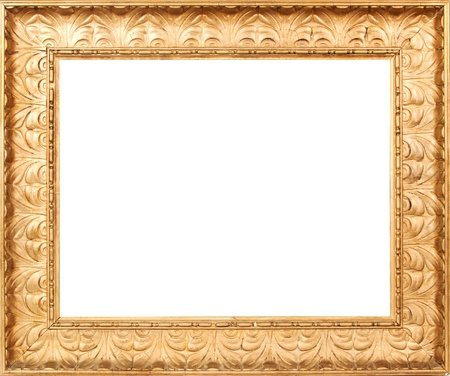 Golden picture frame with a white background