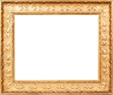 Goldene Bilderrahmen mit einem weißen Hintergrund Standard-Bild - 11323437