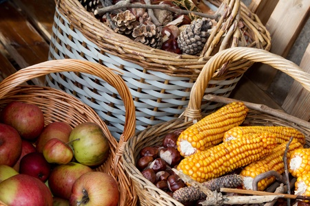 Autumn decorated baskets on a bench Stock Photo - 11323500